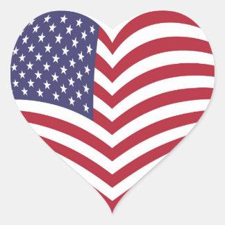American Flag background Heart Sticker