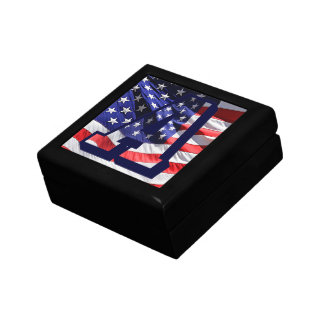 """American Flag Background & Letter """"A"""" Jewellery Gift Boxes"""