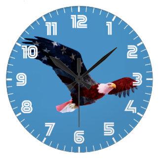 American Flag Bald Eagle Large Clock