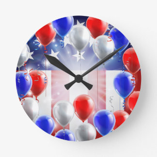 American Flag Balloons Background Design Wall Clocks
