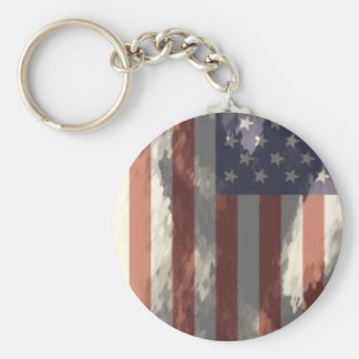 American Flag Basic Round Button Keychain