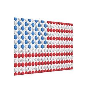 American Flag Basketball Red White and Blue Stretched Canvas Prints