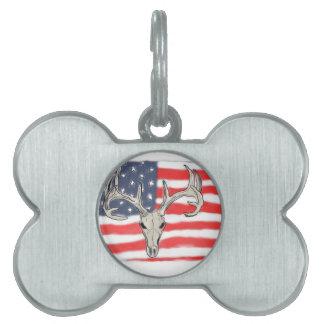 American flag behind a deer skull pet name tags
