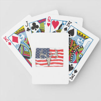American flag behind a deer skull poker deck