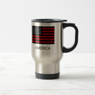 American Flag Black Red White Travel Mug