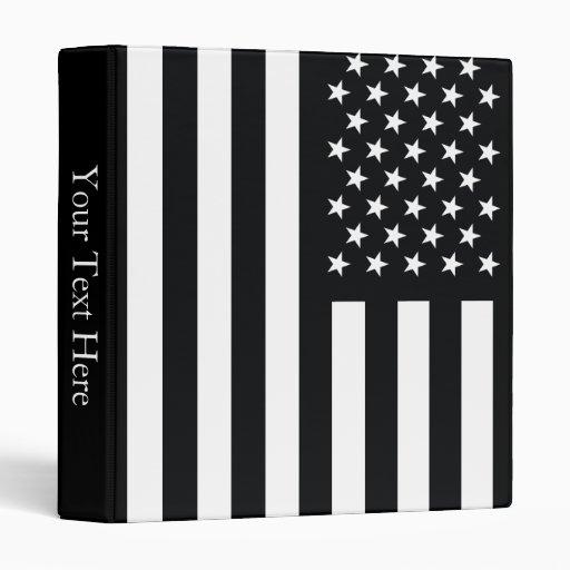 American Flag Black White Binders