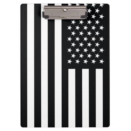 American Flag Black White Clipboards