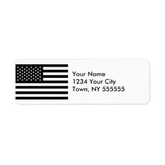 American Flag Black White Custom Return Address Label