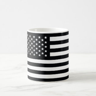 American Flag Black White Mug