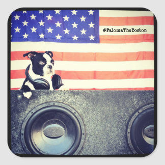 American Flag, Boston Terrier sticker