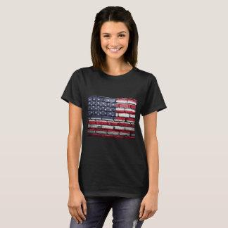 American Flag, Brick Textured.  - Patriotic T-Shirt