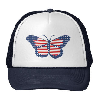 American Flag Butterfly Abstract Art Mesh Hats