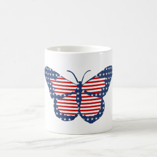 American Flag Butterfly Abstract Art Coffee Mugs