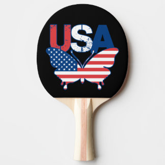 American Flag Butterfly Red White Blue USA Ping Pong Paddle