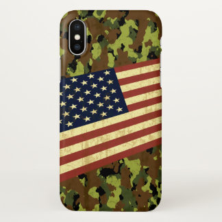 American Flag Camouflage iPhone X Case