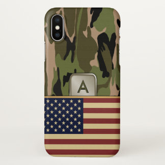 American Flag Camouflage Monogram iPhone X Case