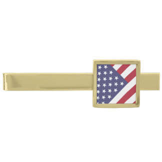 American Flag - Celebrate the USA - July 4 Classic Gold Finish Tie Clip