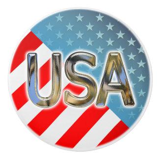 American Flag Ceramic Knob
