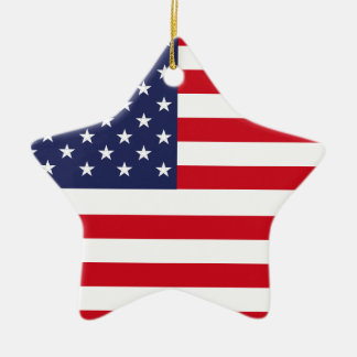 American flag ceramic star ornament