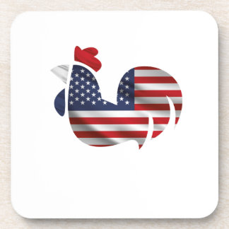 American Flag Chicken Funny Pet Lover Gifts Coaster