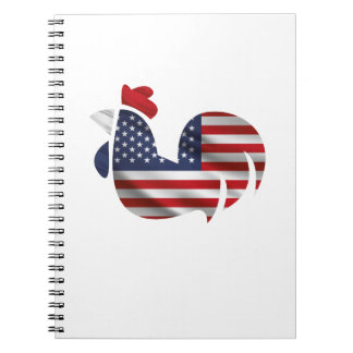 American Flag Chicken Funny Pet Lover Gifts Notebooks