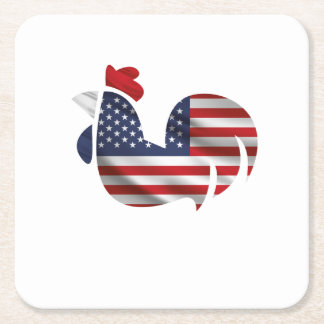 American Flag Chicken Funny Pet Lover Gifts Square Paper Coaster