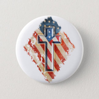 American Flag Christian Faith Cross Vintage Look 2 Inch Round Button