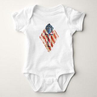 American Flag Christian Faith Cross Vintage Look Baby Bodysuit