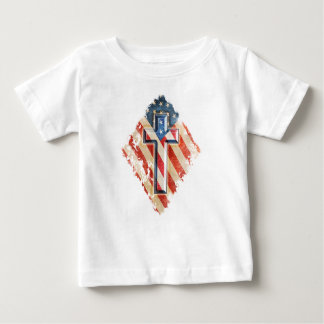 American Flag Christian Faith Cross Vintage Look Baby T-Shirt