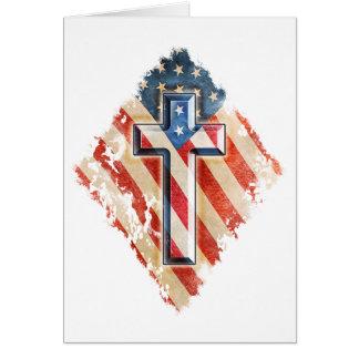 American Flag Christian Faith Cross Vintage Look Card