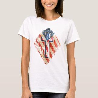 American Flag Christian Faith Cross Vintage Look T-Shirt