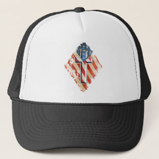 American Flag Christian Faith Cross Vintage Look Trucker Hat