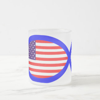 American Flag Christian Fish Symbol Frosted Glass Mug