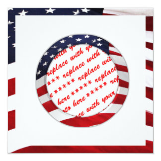 "American Flag Circle Photo Frame 5.25"" Square Invitation Card"