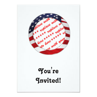 American Flag Circle Photo Frame 5x7 Paper Invitation Card