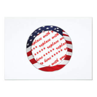 American Flag Circle Photo Frame Invite
