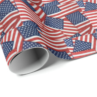American flag collection wrapping paper