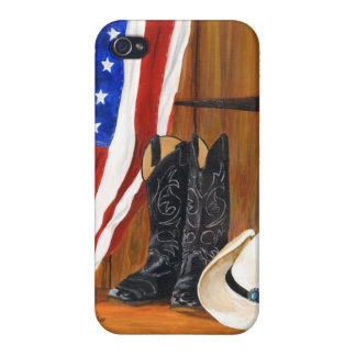American flag, cowboy boots and cowboy hat iPhone 4 cover