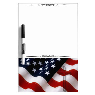 American Flag Cross Magnetic Dry Erase Board 1