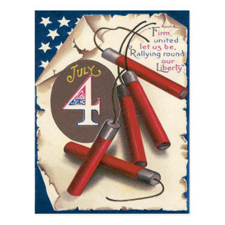 American Flag Declaration of Independence Firework Postcard