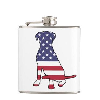 American Flag Dog Hip Flask