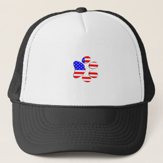 american flag dog paw trucker hat