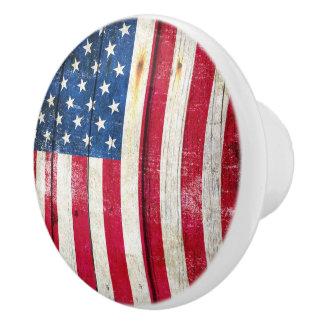 American Flag Door Knob. Ceramic Knob