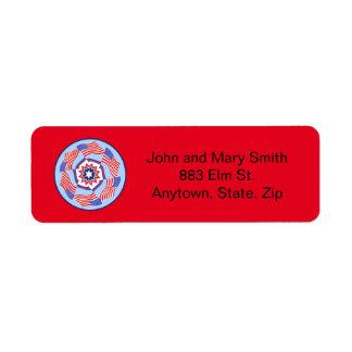 American Flag Dynamic Circle Return Address Label