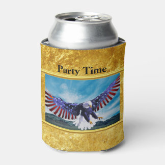 American flag Eagle flying in the sky gold foil Can Cooler