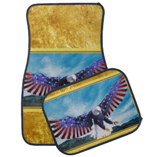 American flag Eagle flying in the sky gold foil Car Mat