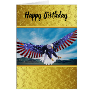 American flag Eagle flying in the sky gold foil Card