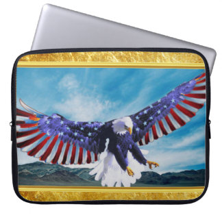 American flag Eagle flying in the sky gold foil Laptop Sleeve