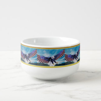 American flag Eagle flying in the sky gold foil Soup Mug