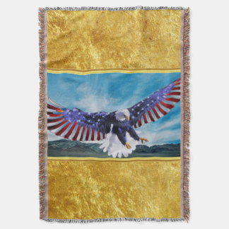 American flag Eagle flying in the sky gold foil Throw Blanket